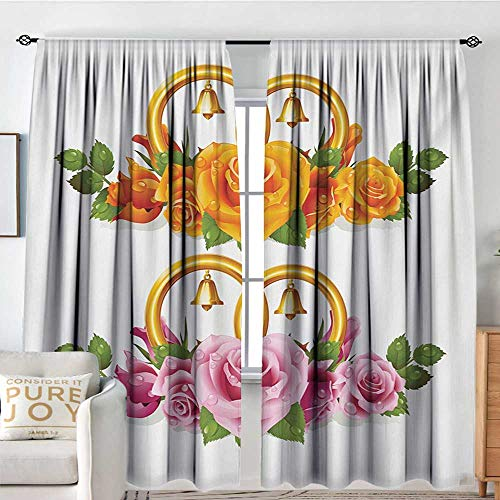(NUOMANAN Insulated Sunshade Curtain Orange and Pink,Bunch of Roses and Rings with Bells Fresh Petals Green Leaves Waterdrips,Multicolor,Darkening and Thermal Insulating Draperies 84