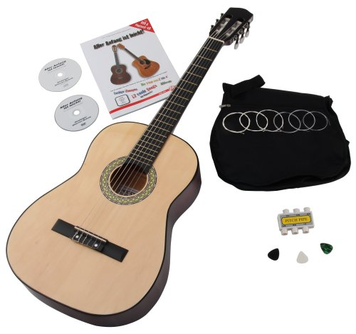 Classic Cantabile AS-851 7/8 Konzertgitarre Starter Set (Komplettes Anfänger Set mit Akustik Gitarre, Gigbag Tasche)