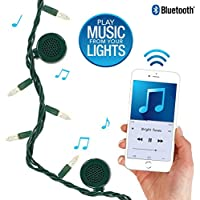 Bright Tunes Decorative String Lights with Bluetooth Speakers, Traditional Tip White Incandescent, Green Cord