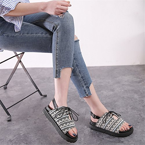 Doigt Chaussures Été Sandales École Tongues des Appartement NVXIE Plage Femmes Bohême Cheville Pied Chaussures de black Sangle Piaulement Fille TYa5RqKw5