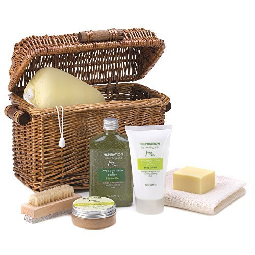 Soothing Spa Bath Basket | Avocado and Lemon Scented by The Gift Basket Gallery (Gifts For Corporate Clients)