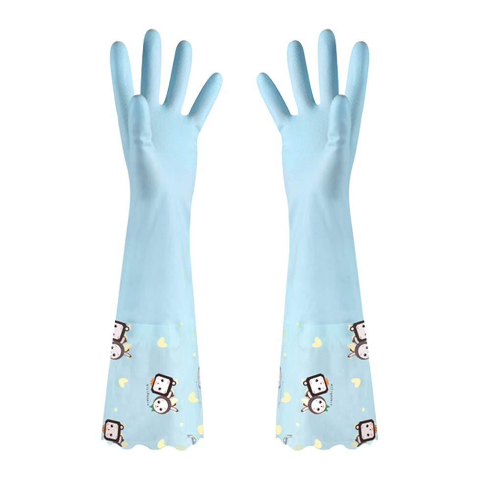 再利用可能なキッチンクリーニング手袋 ノンスリップ 家庭用ロングカフグローブ 柔らかい裏地付き Wide Cuff ブルー BOst-180410140B-06 B07JYWNJV6 ブルー Wide Cuff