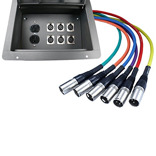 Pro Audio Stage Recessed Floor Box with 110v Electric and XLR Connections (6 XLR, Pre Wired) by Advance MCS Electronics