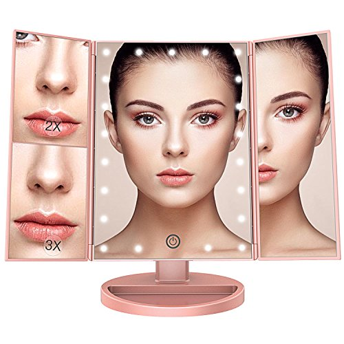 BESTOPE Makeup Vanity Mirror with 21 Led Lights,3x/2x Magnification Led Makeup Mirror with Touch Screen,Dual Power Supply, 180° Adjustable Rotation,Countertop Cosmetic Mirror (Rose Gold) by BESTOPE