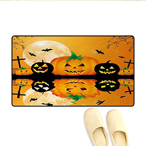 Bath Mat,Spooky Carved Halloween Jack o Lantern and Full Moon with Bats and Grave Lake,Door Mats for Home,Orange Black,Size:24