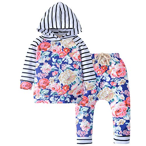 - CARETOO Unisex Baby 2pcs Clothes Flower Hoodies with Pocket Outwear Hood Tops Casual Stripes Outfits Clothes Set Navy Blue