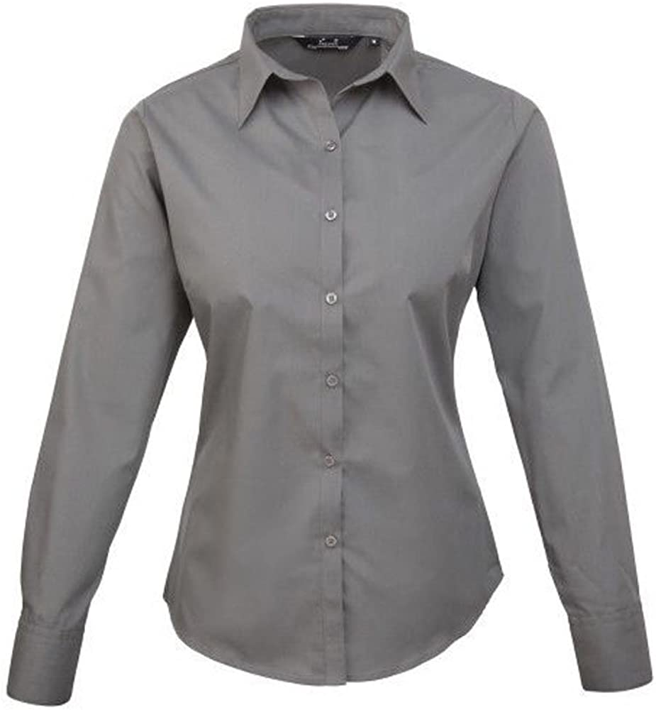 Premier Womens poplin Long Sleeve Blouse Ladies Plain Work Shirt