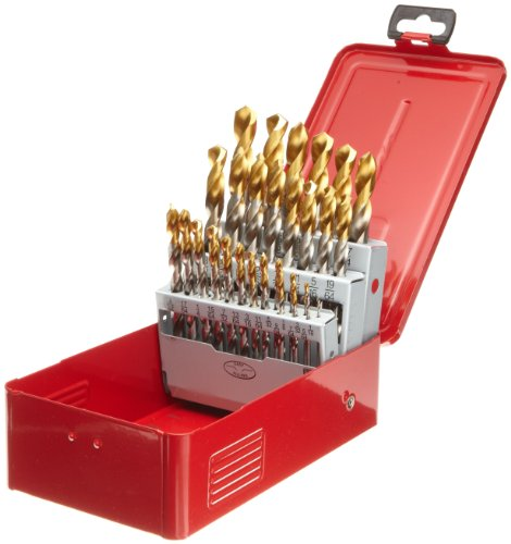 - Dormer A09718 General Purpose Jobber Drill Set, High Speed Steel, Bright/TiN Coated, 1/16