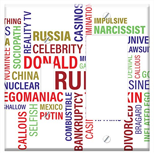 (1-Toggle 1-Rocker/GFCI Combination Wall Plate Cover - Trump Donald J Trump Word Cloud Wordcloud Clo)