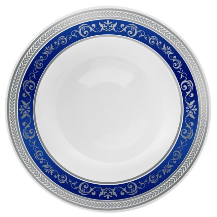 "Posh Setting Royal Collection Combo Pack China Look White, Silver/Blue Plastic Soup Bowls (Includes 1 Pack of 7.5"" Soup Bowls A total of 10 Bowls) Fancy Disposable Dinnerware"