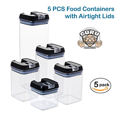 Clear Pantry Storage Containers: 5 Pc. Set Clear Food Containers W Airtight Lids Canisters