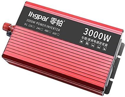 Knoijijuo 2400W 2800W 3000W de Onda sinusoidal Pura inversor de Medios de 12/24 V DC a 230V Adaptador de Cargador de Coche convertidor inversor con convertidor de USB,3000w,24V