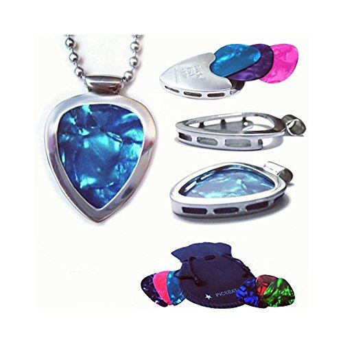 PickBay Guitar Pick Holder Pendant Necklace (Stainless Steel) & 6 Bright Jewel-Tone Guitar Picks Set]()