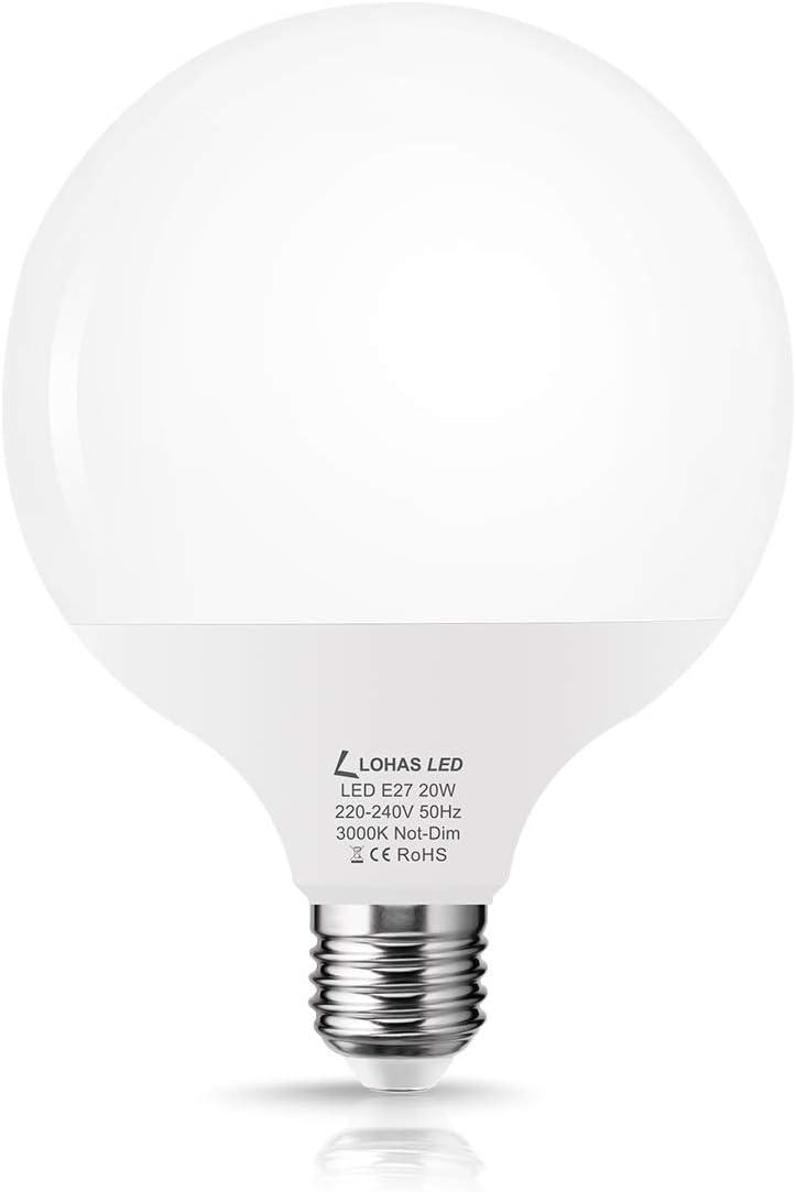 Bombillas LED E27, LOHAS 20W Equivalent a 120-140W Incandescente Bombilla, Blanco Cálido 3000K, 1800 Lúmenes, 240 Ángulo de Haz, Bombilla de Bajo Consumo, Paquete de 1 Unidad