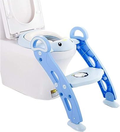 Asiento for inodoro de entrenamiento for ir al baño con peldaños de escalera y acolchado suave, for silla de entrenamiento for inodoro for niños y niños pequeños, peldaño ancho antideslizante y manija: