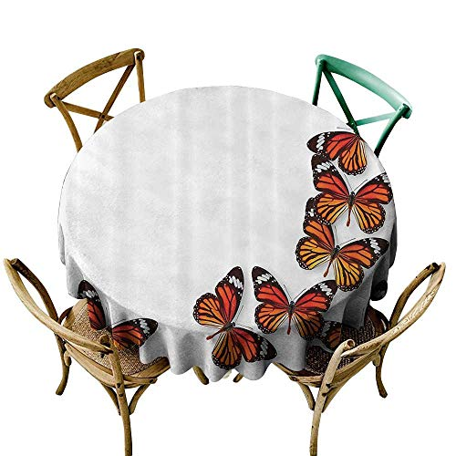 one1love Anti-Fading Tablecloths Butterflies Decoration Monarch Butterfly Flying from Bottom Right Corner Insect Exotic Warm Weather for Events Party Restaurant Dining Table Cover 50 INCH