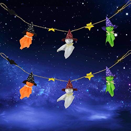 Ghost String Flags Halloween Hanging Ornaments Pendant Decors Photobooth Props (A)