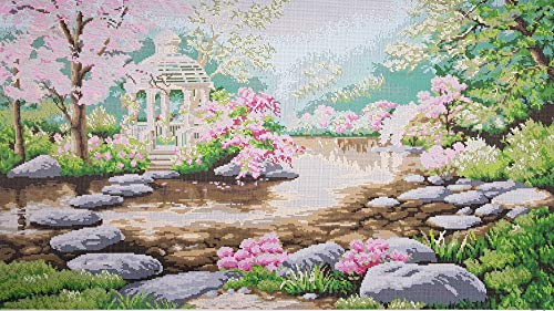 Large Bead Embroidery Needlepoint Tapestry KIT Spring Landscape Beaded Stitching Handcraft kit Beaded Cross Stitch kit Blooming -