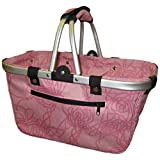 JanetBasket NB019-L Art Supply Totes and Carrier Bags Rosy Large Aluminum Frame Basket