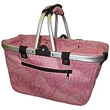 JanetBasket NB019-L Art Supply Totes and Carrier Bags Rosy Large Aluminum Frame Basket