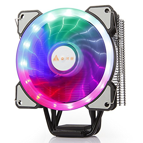 (GOLDEN FIELD PBZ5 CPU Cooler Air Cooling Heastink with 4 Heatpipes & 120mm LED Fan CPU Radiator for Intel LGA 1151/1150/1155/1156 & AMD4)