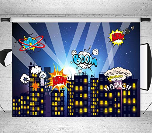 BoTong Superhero Party Backdrop for Pictures Baby Shower Photography Backdrop Birthday Photography Background Super Hero Party Decorations Backdrops Fond Studio Props sc031-7x5FT -