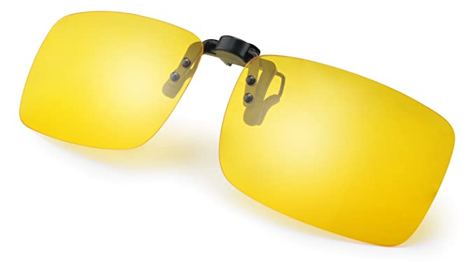 8db6d90429 Amazon.com  TINHAO Night Vision Polarized Clip-on Sunglasses with Flip Up  Lens Clipped on Prescription Glasses (Yellow
