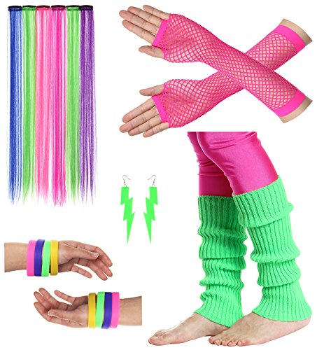 JustinCostume Women's 80s Outfit Accessories Neon Earrings Leg Warmers Gloves (J Fancy Dress Costumes)