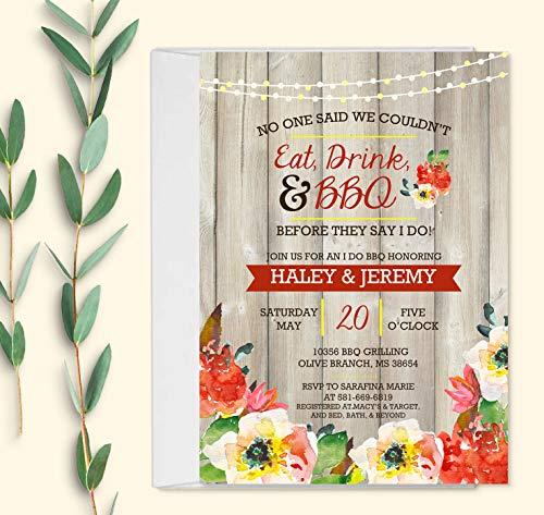 I Do BBQ Invitations with Envelopes - Wedding Shower Invitations with Envelopes - Set of 10