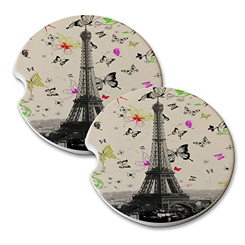 Eiffel Tower Butterfly Swoop - Car Cup Holder Natural Stone Drink Coaster Set