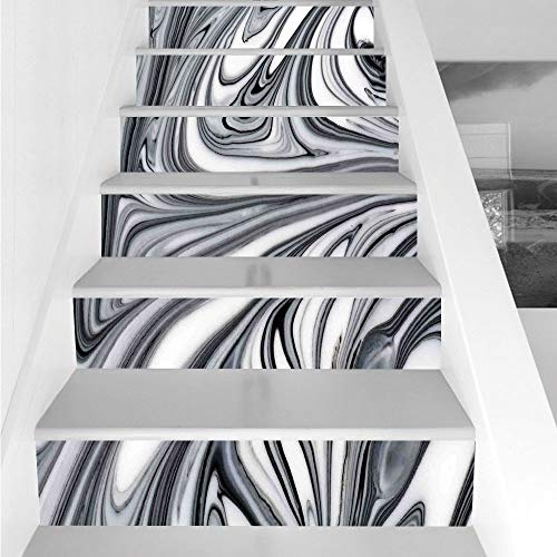 Stair Stickers Wall Stickers,6 PCS Self-adhesive,Apartment Decor,Mix of White and Black Hallucinatory Surreal Liquid Marble Figures Graphic Image,Grey,Stair Riser Decal for Living Room, Hall, Kids Roo -