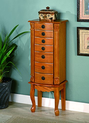 Living Room Oak Armoire - Coaster Traditional Warm Oak Jewelry Armoire