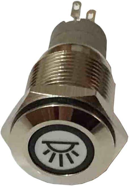Mintice /™ v/éhicule de voiture 12/V LED bleue Int/érieur Bouton poussoir en m/étal Interrupteur /à bascule 16/mm