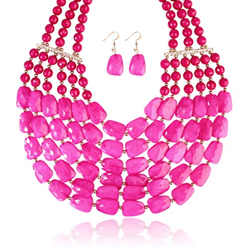 RIAH FASHION Popular Faceted Acrylic Jewel Bead Statement Necklace Set - Bold Multi-Layered Beaded Bib Collar for Women (Hot Pink)