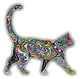 "Bargain Max Decals Cheerful Cat Pattern Sticker Decal Notebook Car Laptop 5"" x 5"" (Color)"