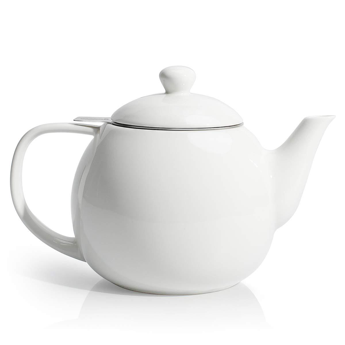 Tetera de porcelana con infusor de té y sello de silicona, diseño de hojas sueltas y florecientes, 27 onzas, Blanco