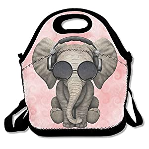 Elephant Glasses Galaxy Lunch Bags Insulated Travel Picnic Lunchbox Tote Handbag With Shoulder Strap For Women Teens Girls Kids Adults