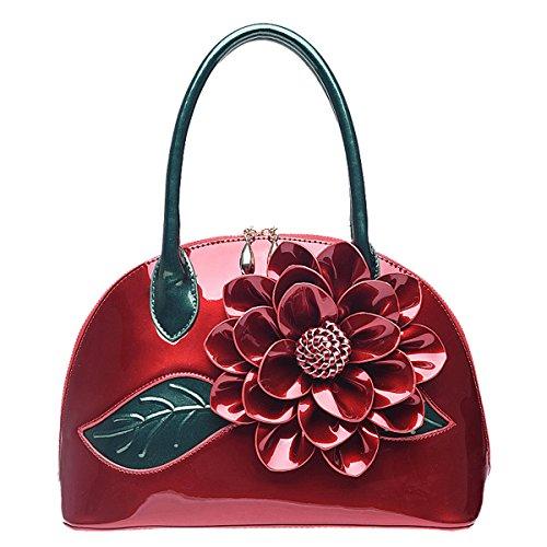 Heysun Women Vintage Tote Bag Embossed Flower Cross Body Top Handle Shoulder Bags (wine)