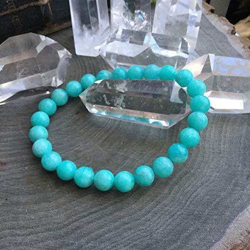 (Amazonite stretch bracelet | Amazonite Stone Bracelet | Birthday Gift | Gift for him | Gift for Dad | Gift for Her | Bracelet Pierre | Men Bracelet | Bracelets for Women Unisex)