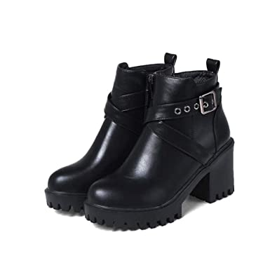 1fb7a9a8668 Amazon.com | T-JULY Winter Ankle Boots Women Ladies Square Heel High ...