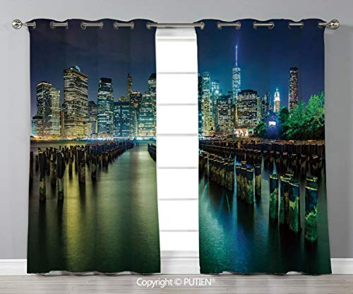 Grommet Blackout Window Curtains Drapes [ New York,Pier Pilings and Manhattan Skyline at Night Downtown Urban East River,Dark Blue Green Yellow ] for Living Room Bedroom Dorm Room Classroom Kitchen Ca ()