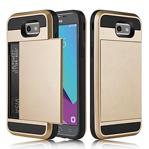 Galaxy J3 Emerge Case, J3 Prime Case, Elegant Choise Hybrid Bumper Armor Shockproof Protective Case Cover [Not Wallet] with Credit Card Slots Holder for Samsung Galaxy J327P / J3 2017 (Gold)