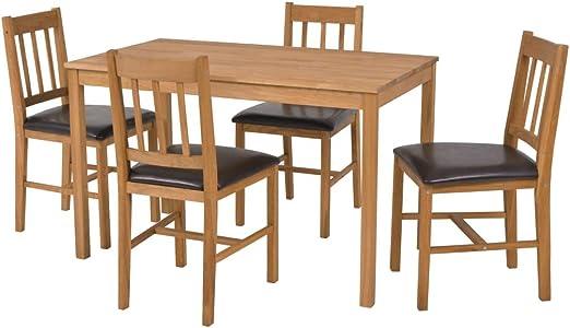 vidaXL Roble Set Comedor 5 Piezas Madera Mesa Silla Mueble ...