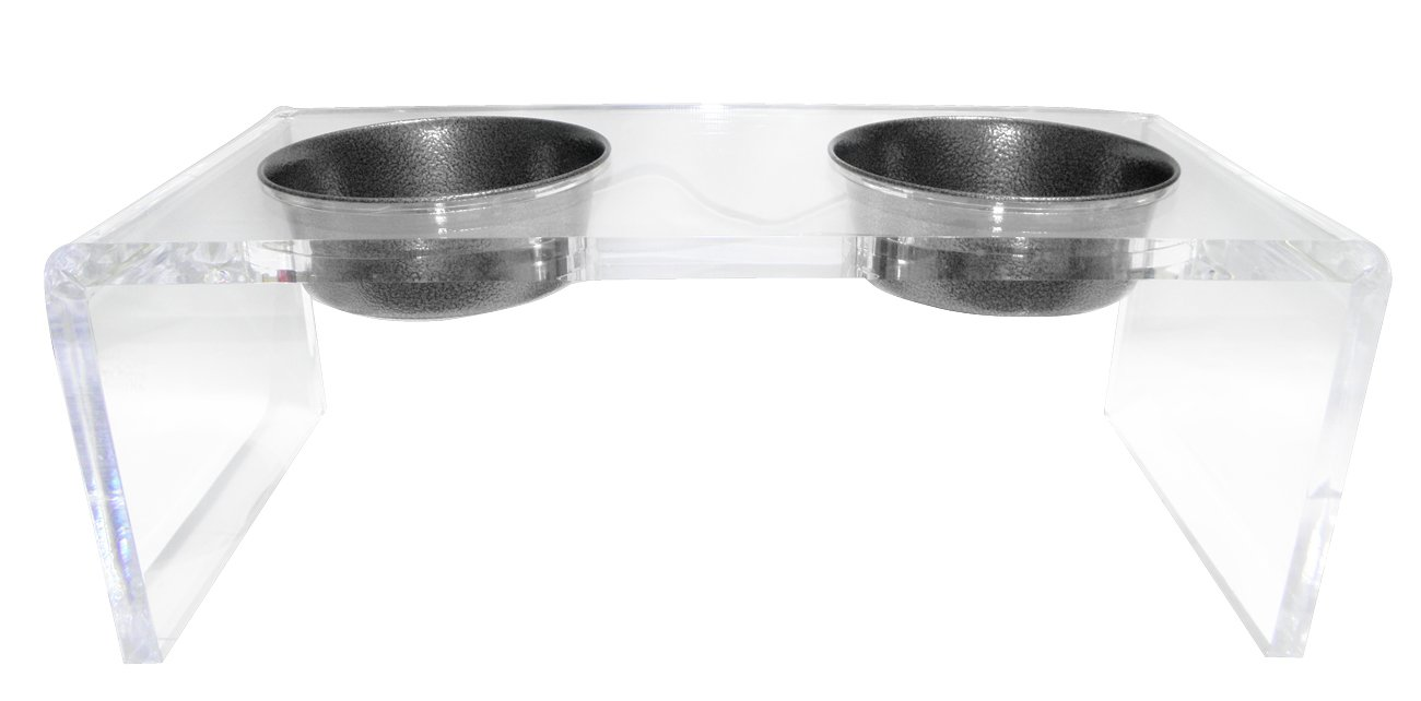 Platinum Pets 5 Star Modern Solid Acrylic Cat Feeder with 2 Extra Heavy 1-Pint Silver Vein Bowls
