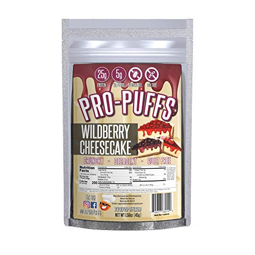 Pro-PuffsTM Wildberry Cheesecake | 25g Protein – 5g Net Carbs | High Protein Puffs | Low Carb, Keto Friendly, Gluten Free, Soy Free, Peanut Free | (Wildberry Cheesecake, Single)