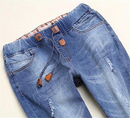 Byjia Damen Jeans Gummizug In Der Taille Innennaht Entspannt Fit Gerades Bein Blue Denim Stretch Zerstören Skinny Riss Verzweifelt Hose