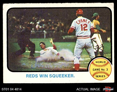 Baseball 1973 (1973 Topps # 205 1972 World Series - Game #3 - Reds Win Squeeker Tony Perez / Darrel Chaney / Gene Tenace Oakland / Cincinnati Athletics / Reds (Baseball Card) Dean's Cards 4 - VG/EX Athletics / Reds)