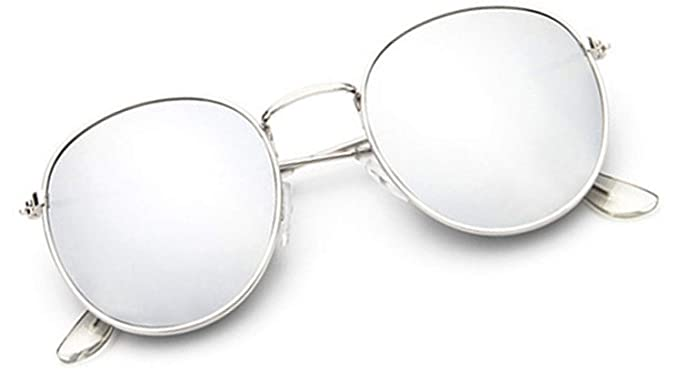 370922208d4 Image Unavailable. Image not available for. Colour  Sheomy Round Mirrored  Unisex Sunglasses (Silver)