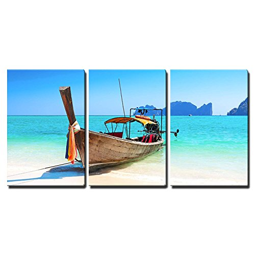 Framed Iii Canvas (wall26 - 3 Piece Canvas Wall Art - Long Boat and Tropical Beach, Andaman Sea, Thailand - Modern Home Decor Stretched and Framed Ready to Hang - 16