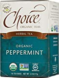 Choice Organic Caffeine Free Peppermint Herbal Tea, 16 Count Box